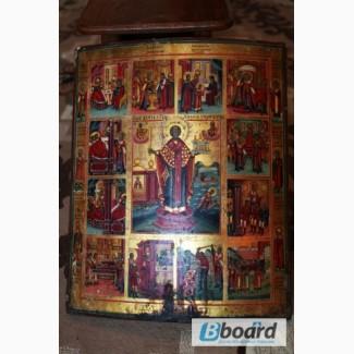 Продам старинную икону житие старого Николая Чудотворца 17-18 век.Темпера по левкасу