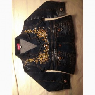 Джинсовый пиджачок для принцессы с вышивкой 50 грн