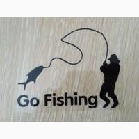 Наклейка На рыбалку Черная Тюнинг авто