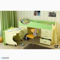 Кровать двухъярусная с рабочим столом и ящиками