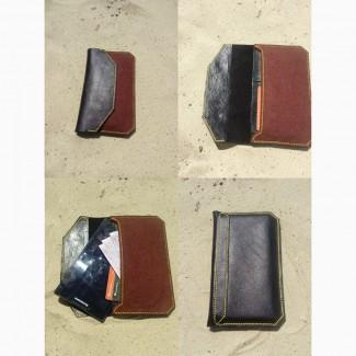 Женский клатч для денег и телефона/планшета из натуральной кожи и фетра