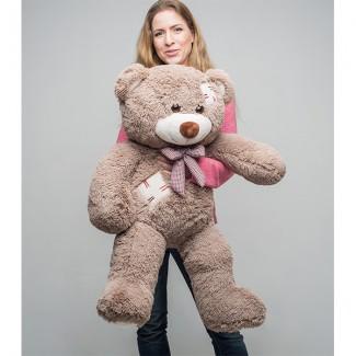 Мягкая игрушка Мистер Медведь с латками 100 см. Капучино