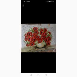 Картина маслом Маки 50х70