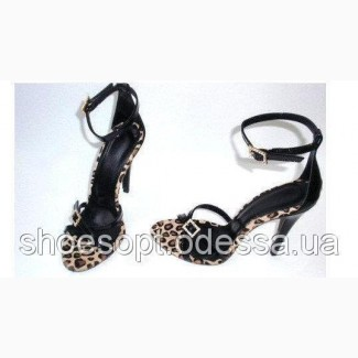 Элитные женские черные босоножки на шпильке леопард