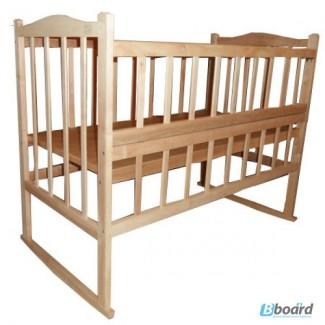 Кроватка КФ (с качалкой, опускинаем боковушки, колесами и фигурной спинкой)