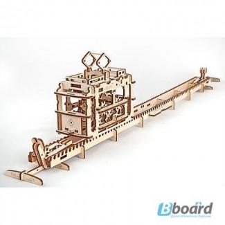 Механический-Деревянный 3D Конструктор - Трамвай на рельсах