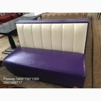 Диван из кожзама б/у фиолетовый с бежевой спинкой для ресторана, кафе, бара