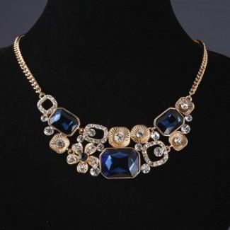 Колье на цепочке Квадраты с синими кристаллами
