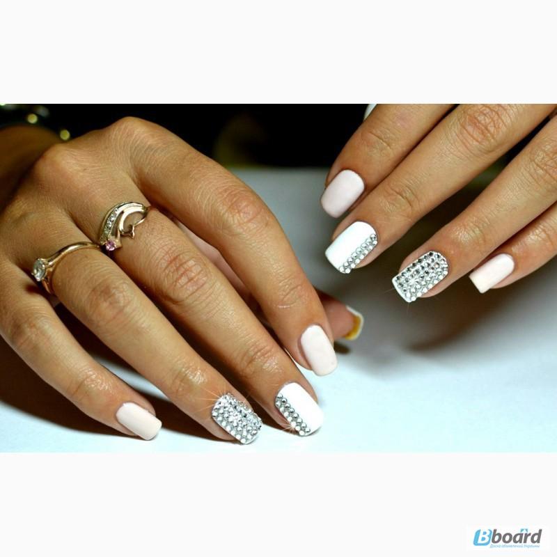 Нарощенные белые ногти дизайн