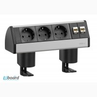 Горизонтальный блок EVOline Dock Data Small 3x220В + 2xRJ45