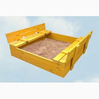 Деревянная детская песочница. Откидные сидения