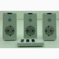 Три одинарные дистанционные розетки с пультом Lemanso LM687