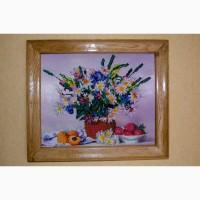 Вышитая картина бисером, подарок, букет с ромашками