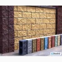 Блок заборный декоративный колотый, для забора, шлакоблок бетонный, рваный камень