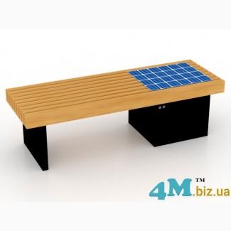 Лавочки и скамейки парковые и садовые с солнечными панелями