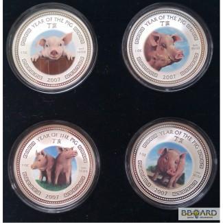 Набор из 4-х унцовых новозеландских серебряных монет