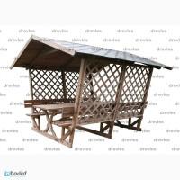 Беседка деревянная на 12 человек со столом и лавками / Б4-3