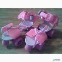 Ролики детские раздвижныеквадровые Mini Roller PU размер ( 16-20 см. ), Розовый, Киев