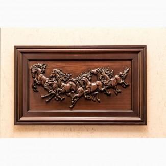 Эксклюзивная картина «Лошади» из ценных пород древесины