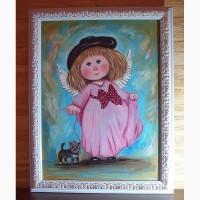Картина маслом копия Чувиляевой Ангел с собачкой