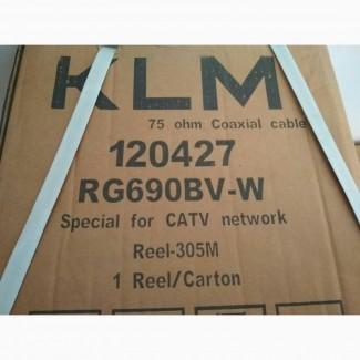Кабель коаксіальний RG690BV-W KLM, PVC CCA, обп. 90%, білий, 305м