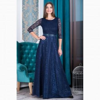 Тёмно-синее нарядное вечернее платье