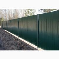 Забор с профнастила, кованый забор, бетонный забор