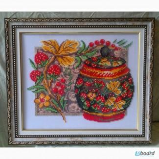 Клубничка - картина вышивка бисером