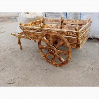 Декоративная телега, воз. Деревянные колеса