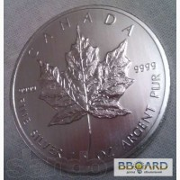 Серебро Канадская инвестиционная монета 5 долларов (вес 31, 1 грамм)