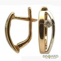 Золотые серьги с бриллиантами «Crescent».