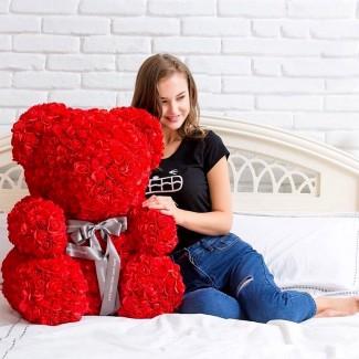 Медведи из фоамирановых 3D роз опт