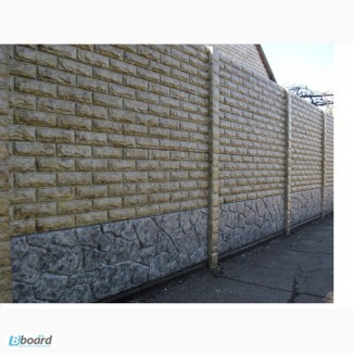 Еврозаборы глянцевые, цветные мрамор из бетона