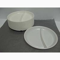 Тарелка пластиковая 2 отделения 20см 100шт Белая