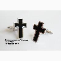 Запонки крест крестик хрестик серебристые с черной эмалью черный крест хрест