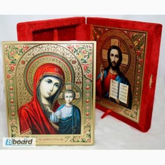Складни в бархате с иконами Казанской Божией матери и Спасителя