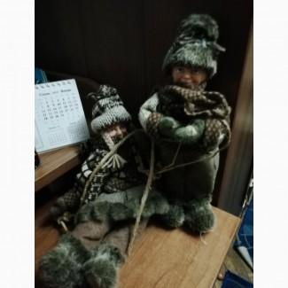 Продам коллеционные игрушки СССР Дети на санях ручной работы