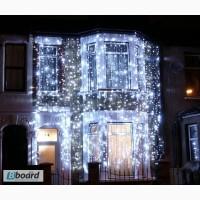 Монтаж гирлянд, светодиодные гирлянды, новогоднее оформление домов