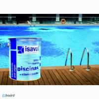 Краска для бетонных бассейнов, прудов, резервуаров ISAVAL Хлоркаучук 4 л, голубой и белый