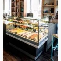 Витрина б/у холодильная кондитерская стационарная Г-образная для кафе ресторана