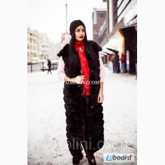 Длинный жилет из меха финского песца с плечиками, цвет черный, размеры в наличии