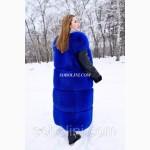 Жилет из меха финского песца, цвет синий электрик, рукава кожаные отстегиваются, длина