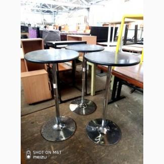 Столы б/у барные круглые нога хром черного цвета