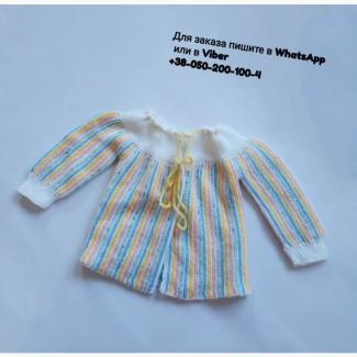 Детская кофточка вязанная на завязках кофта цветная на девочку