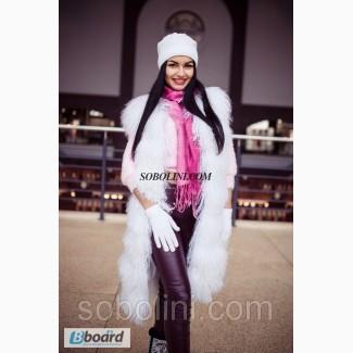 Жилет из меха ламы-альбинос, длина 90см, размеры в наличии в шоу руме г.Харкьова