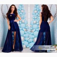 Платье-двойка стильное красивое с длинной шифоновой юбкой (2 цвета)