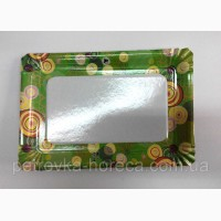Бумажные одноразовые тарелки, прямоугольніе 100шт 15*22см (10/1000) Цветная