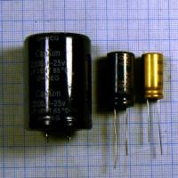 Конденсаторы электролитические вертикальные (в том числе l.esr) 1…22000 мкф 6.3…450 вольт