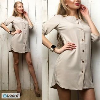 Платье-рубашка однотонное повседневное, креп-шифон