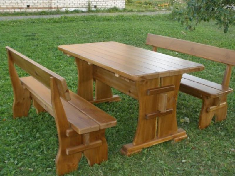 Стол из массива дерева и две лавки — купить в Красноярске ... | 600x800